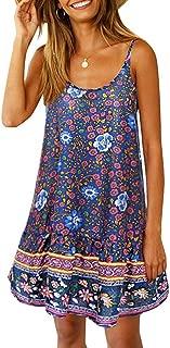Women's Boho Sexy Crewneck Halter Straps Floral Printed Mini Swing Sleeveless Dress Sundress with Pockets BL XXL Navy Blue