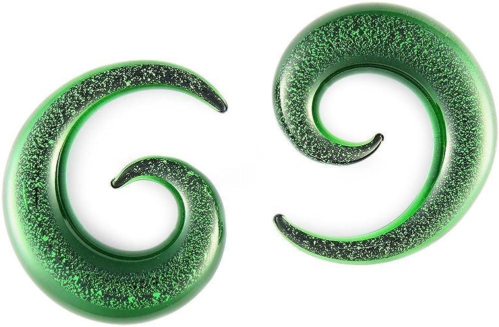 Scrap Metal 23 Pair Green Glitter 00 00g Glass Gaug Pyrex Ranking TOP4 Limited price sale Spiral