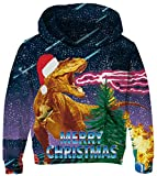 Boys Christmas Dinosaur Sweatshirt Green Hoodies for 5-6T Outerwear Clothes 3D Merry Christmas Sweater Party Funny Pullover Fashion Ugly Animal Sweatshirt with Pockets