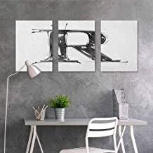 HOMEDD Graffiti Canvas Painting,Letter R Sketch Style R World with Grunge Gothic Tones Hand Drawn Paintbrush Illustration,for Home Decoration Wall Decor 3 Panels,24x47inchx3pcs Black White