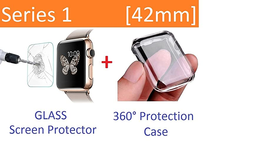 Ezone Apple Watch Case Series 1 42mm, Tempered Glass Screen Protector for Apple Watch Series 1 and Ultra-thin Clear HD Case