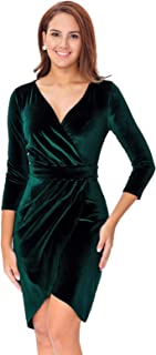 InsNova Women's Long Sleeve Velvet Bodycon Wrap Cocktail Dress for Wedding Guest