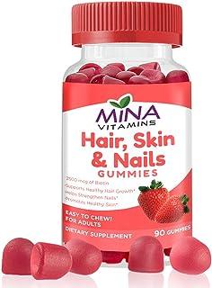 Mina Vitamins Hair Gummy Vitamins – Boosted with Biotin for Stronger, Thicker, Fuller & Longer Hair - Halal, Vegetarian, N...