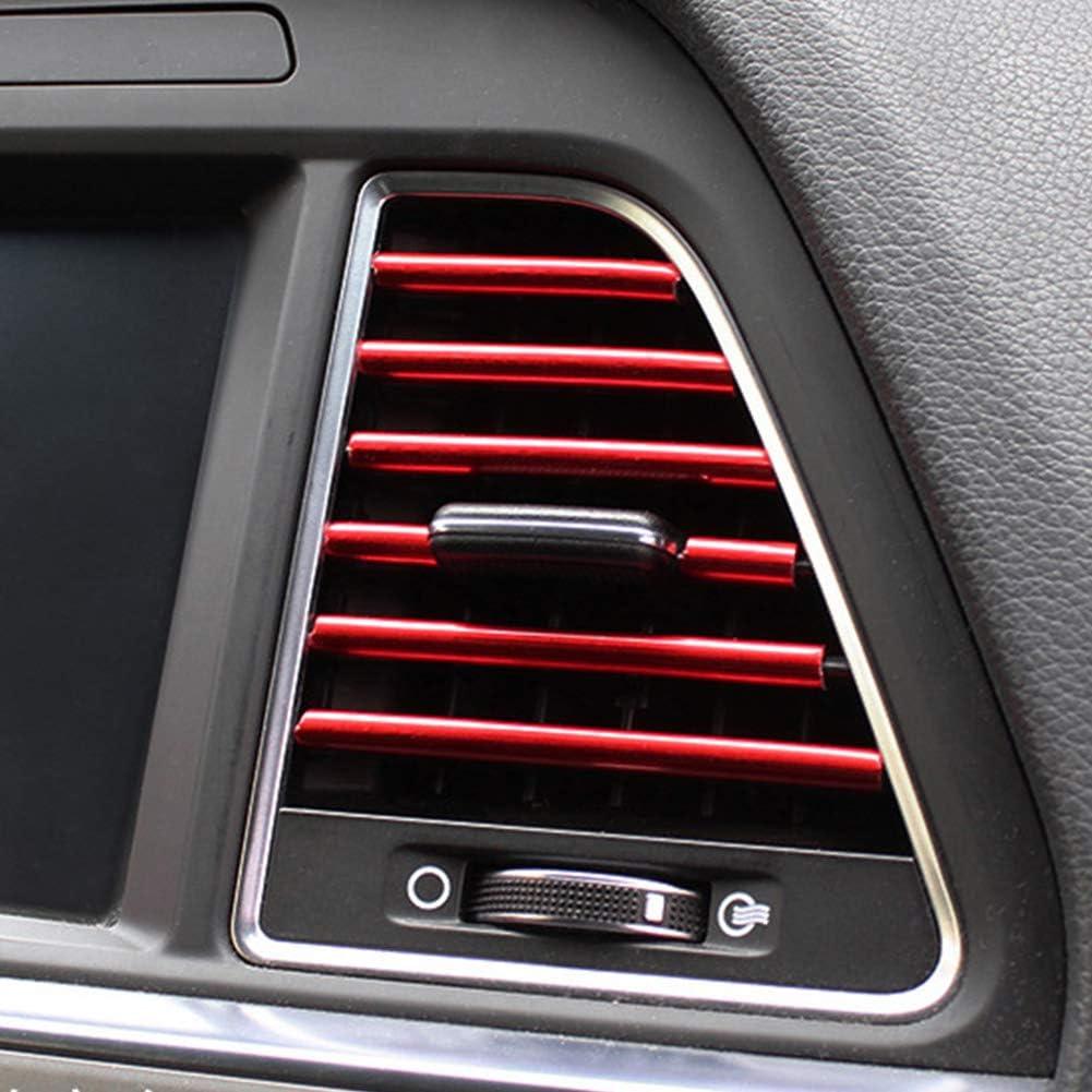 CALIDAKA 10 Pcs PVC Car Air Conditioner Vent Outlet Trim Strip,DIY Decoration Strip Line Car Shiny Accessories