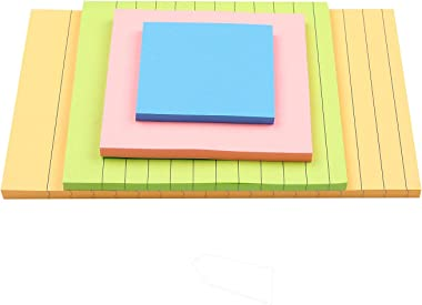 (15 Pack) Super Sticky Notes, Bright Colors Self-Stick Pads, Easy to Post for Home, Office, Notebook,15 Pads/Pack