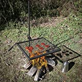 Outdoors Adjustable Campfire Swivel Grill - HD Wire Cooking Grate Spike Pole | Elite Trading Post