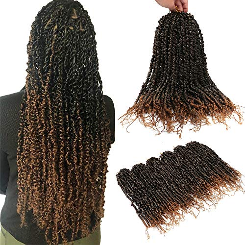6 Packs Passion Twist Hair Bomb Twist Pre-Twisted Crochet Hair for Women Pre-looped Crochet Braids Hair Extension Synthetic Afro Kinky Spring Twist Ombre Braiding Hair (20Inch,1B/27#)