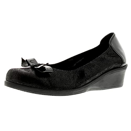 8445e4b27a79 Heavenly Feet Lenox Womens Ladies Leather Wedge Shoes Black Emboss - Black  Emboss - UK Sizes