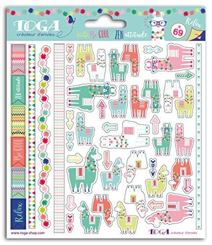 Toga stf102Lama-69Aufkleber Papier grün/pink/orange/blau 15x 17,5x 0,2cm