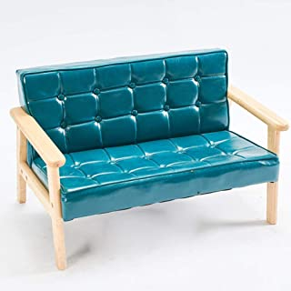Micaza Kids Tufted Sofa Bench with Back Cushion, Upholstered Waterproof Long Bench Solid Color Wood Bench Baby Sofa Chair Living Room Bedroom Nursery-b Tibetan Blue 42x41x70cm(17x16x28inch)