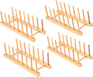 Lawei 4 pack Bamboo Wooden Dish Rack - Plate Rack Stand Pot Lid Holder, Kitchen Cabinet Organizer for Bowl, Cup, Cutting Board and more
