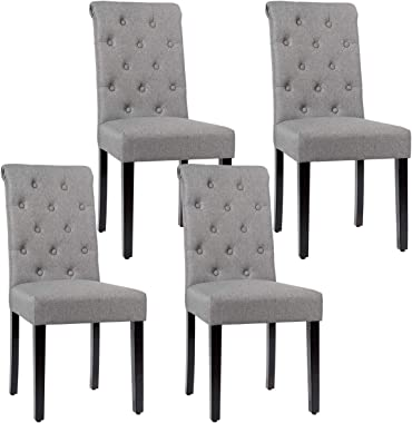 Giantex Upholstered Dining Chairs Set of 4, with Adjustable Foot Pads, Anti-Slip Foot Pads, Sturdy Wood Legs, Tufted Parsons