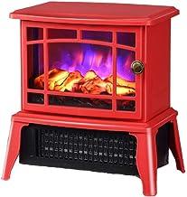 Mini autoportante chimenea vendimia calentador cocina eléctrica con horno de leña de llama LED efecto de luz calentamiento interno Ideal electrodoméstico marco de metal 1500W 22,8 15,4 25,6 cm negro K