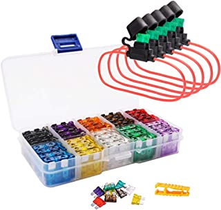 FICBOX Blade Car Fuses Assortment Kit, 100PCS Standard Assorted Fuses with 5 Inline Fuse Holders - Includes Fuse Puller Tool, Great for Use on Cars