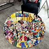 chengcheng One Piece Tappeto Anime, Tappeto Rufy Sailing Adventure Area Cappello di Paglia, Tappetino Rotondo Antiscivolo Sea Treasure 200cm
