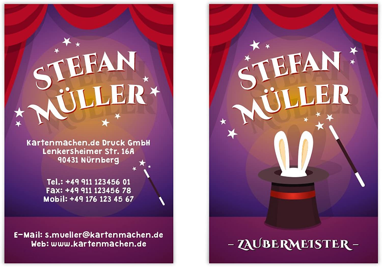 500 x Visitenkarten individuell Business Karten 300g qm 85 x 55 mm - Zauberer Magier Zaubermeister B07F41M3PF | Outlet Store