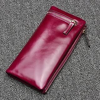 Leather Women's Wallet Vintage Oil Wax Skin Coin Wallet Phone Wallet Large Capacity Clutch Wallet Waterproof (Color : Purple, Size : S)