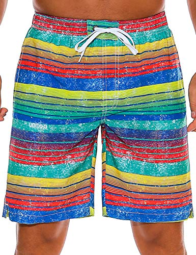Unitop Men's Bathing Suits Casual Swim Shorts Zipper Pocket with Mesh Lining Colorful Striped 34