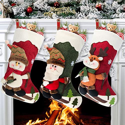 "Aiduy Set of 3 Christmas Stockings 18"" with 3D Santa Snowman Reindeer Xmas Stockings for Christmas Tree Fireplace Hanging and Party Decor"