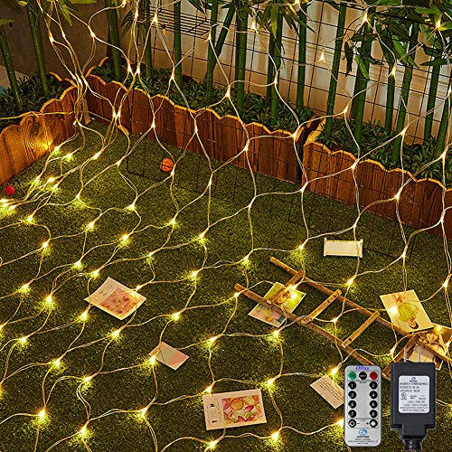 Ollny 200 LED Net Mesh Fairy String Lights 9.8ft x 6.6ft Christmas Tree wrap with Remote for Outdoor Bushes Indoor Wedding Background Decorations Warm White