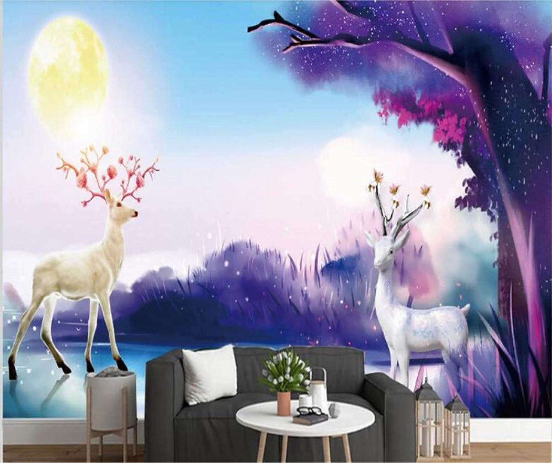 gran selección y entrega rápida Mbwlkj Papel pintado Papeles Papeles Papeles Pintados Modernos Para La Sala De Estar Minimalista Elk Mural 3D Nordic Resumen Tv Sofá Fondo Fondos De Pantalla Fondos De Parojo 3D-200cmx140cm  calidad garantizada