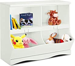 Costzon Multipurpose Toy Storage Organizer, Open Storage Toy Organizing Cubby, Multi-Bin Organizer Wooden Cabinet with Footboard, Nursery Bookshelf for Children Girls & Boys Bedroom Decor Room, White