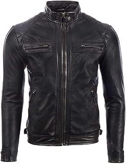MDK Men's Real Leather Super Soft Black Biker Jacket Diamond Padded Shoulders