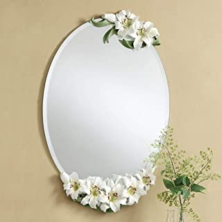 WYXIAN European Bathroom Mirror, Makeup Mirror, Vanity Mirror, Shaving Mirror, Lily Shape Mirror Frame, Wall Mirror Oval Mirror, Fashion Bathroom Decoration(47 * 70CM) (Color : B, Size : 47 * 70CM)