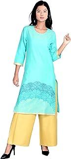Indian Handicrfats Export Turquoise Printed Straight Ethnic wear Kurti