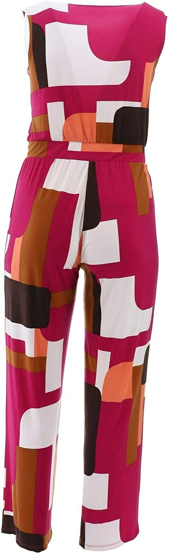 IMAN City Chic Slvless Jumpsuit Hidden Buttons Berry Geo 1X Avg NEW 689-720