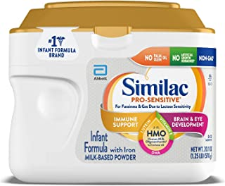 Similac Pro-Sensitive Infant Baby Formula Powder with Iron for Lactose Sensitivity, with 2'-FL HMO for Immune Support, Non-GMO, Unflavored, 20.1 Oz