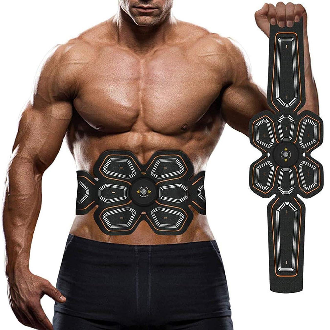 アルカトラズ島推論ブロックする電気腹部筋肉刺激装置、ABSウエストトレーナーフィットネス減量体重減少マッサージャー用男性と女性の脂肪燃焼