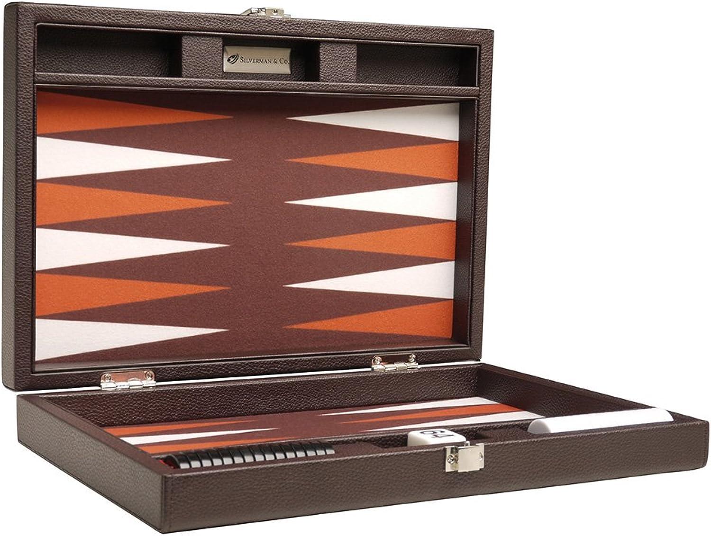 13inch Premium Backgammon Set  Travel Size  Dark Brown Board