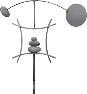 Aura Life Zen Garden Spinner Kinetic Wind Sculpture | Balanced Arch Yard Decor with Rock Cairn and Stake | Relaxing Metal Art Wind Vane Sculptures | Handmade in The USA