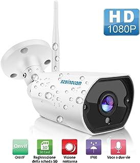 SZSINOCAM Cámara de Vigilancia Exterior 1080P con Audio bidireccional Versión Nocturna Impermeable IP65 Detección de Movimiento Vista Remota con Android/iOS/PC