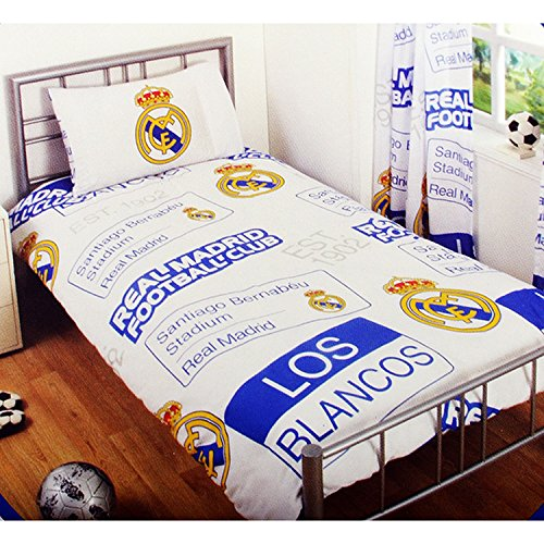 Real Madrid CF Childrens/Kids Official Patch Football Crest Single Duvet Set (Full) (White/Blue/Yellow)