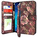 Lacass Floral Butterfly PU Leather Flip Wallet Case Cover Kickstand with Card Slots and Wrist Strap for Samsung Galaxy A10e Case (2019) (3D R)