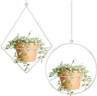 Mkono 2 Pcs Plant Hanger - A Diamond & A Circle Shape, Metal Hanging Planter Modern Home Decor, Fits Large 6 Inch Planter (Flower Pot NOT Included)