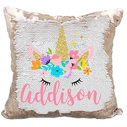 YUUNITY Personalized Mermaid Reversible Sequin Pillow, Custom Unicorn Sequin Pillow for Girls(White/Rose Gold)