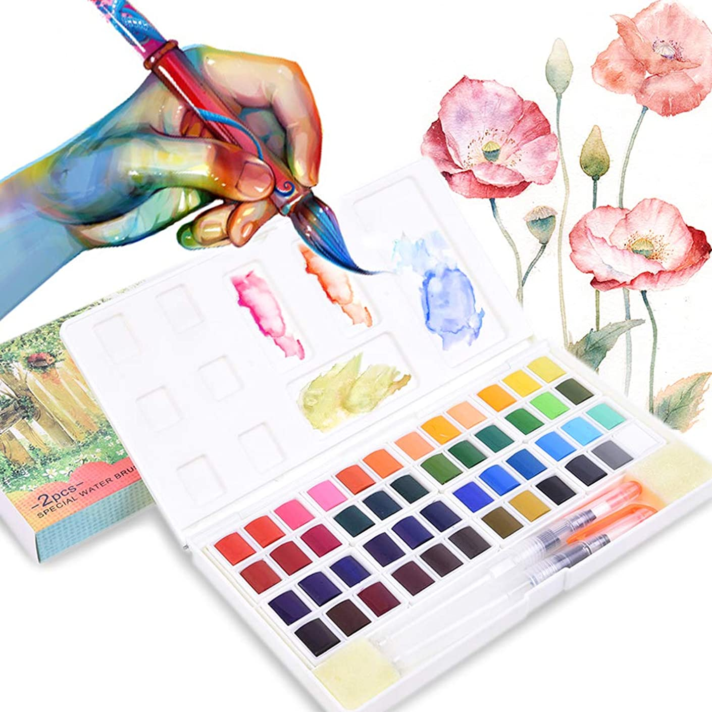 48 Assorted Watercolor Paints Set - Travel Pocket Solid Watercolor Kit with Water Brushes Mixing Palette for Beginners and Artists Journal Sketching Painting Coloring Drawing Art Supplies