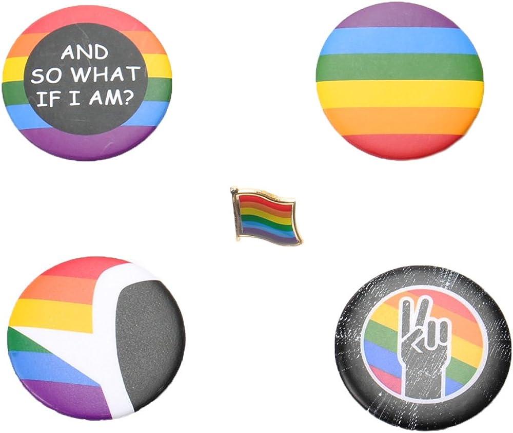 Comidox 5pcs GLBT Be super welcome LGBT Gay Badge half Flag Rainbow Symbo Pride Brooch