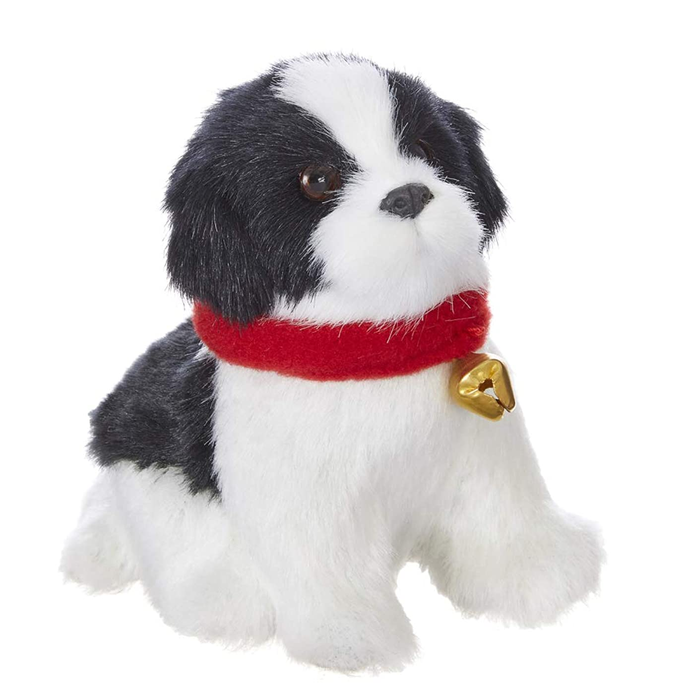 スペード奪うコンプライアンスRAZ Imports 犬の置物/クリスマスオーナメント - フェイクファーボーダーコリー子犬 4インチ x 4インチ x 2.5インチ