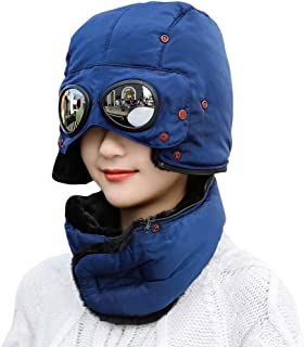 Unisex Warm Waterproof Trapper Hat Ear Flap Thermal Neck Warmer Winter Hat with Goggles