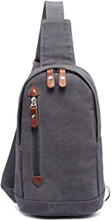 Mens Bag Mens Canvas Chest Bag Sling Bag Crossbody Bags Adjustable Shoulder Backpack Travel Rucksack Causal Daypacks for Hiking Cycling Travel High capacity
