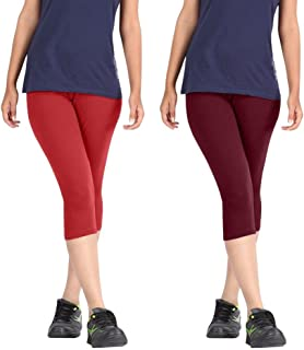 Rooliums Brand Factory Outlet Women's Fine Cotton Capri Leggings (HRCAPRI2RM, Red and Maroon, Free Size) - Pack of 2