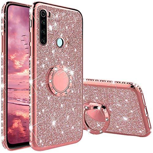 TVVT Glitter Crystal Funda para Xiaomi Redmi Note 8T, Glitter Rhinestone Bling Carcasa Soporte Magnético de 360 Grados Ultrafino Suave Silicona Lujo Brillante Rhinestone - Rosa