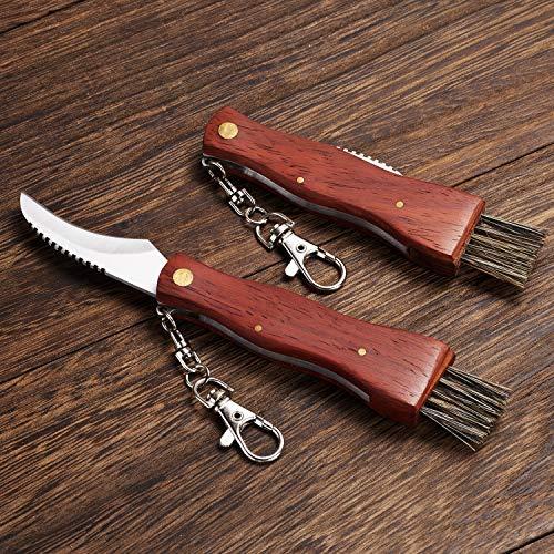 2 pcs Camping Hunting Folding Mushroom Knife Fungus Truffles Harvest Sharp Knives Natural Wood Handle Pocket Knife w/Bristle Brush