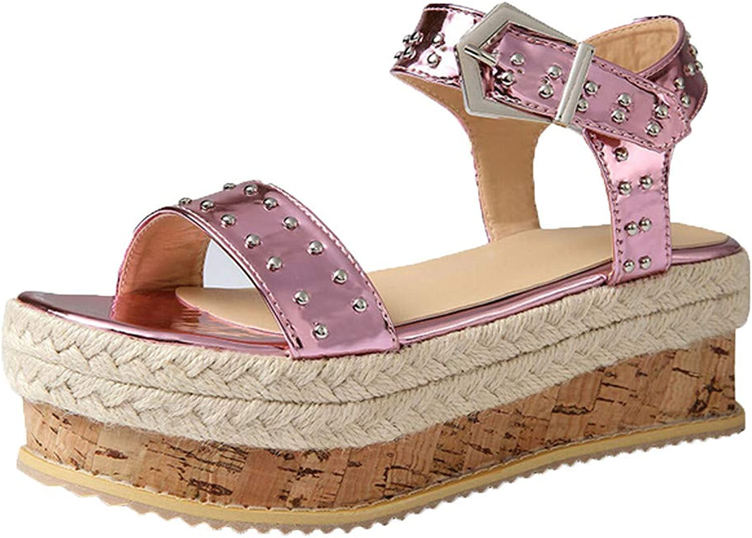 Thick-Soled Sandals,Youngh Summer Women's Thick-Soled Sandals Belt Buckle Flat Sandals Rivet Beach shoes