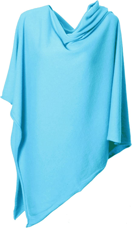 Anna Kristine Pure Cashmere Asymmetrical Draped Poncho  Caribbean Turquoise bluee