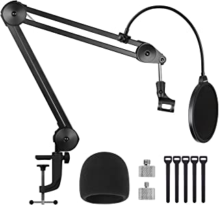 "InnoGear Microphone Arm Stand, Heavy Duty Suspension Mic Boom Scissor with Mic Clip, Pop Filter, Windscreen, 5/8"" to 3/8"",..."